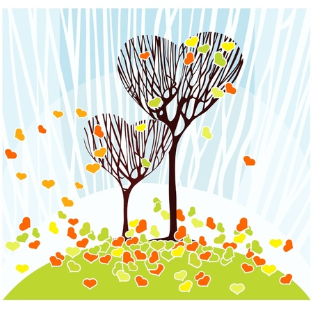 Two trees in the shape of hearts and fallen leaves in the shape of hearts Vector