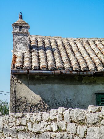 chimney on the roof of old hause