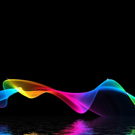 vivid colors: Cool colored waves on black background