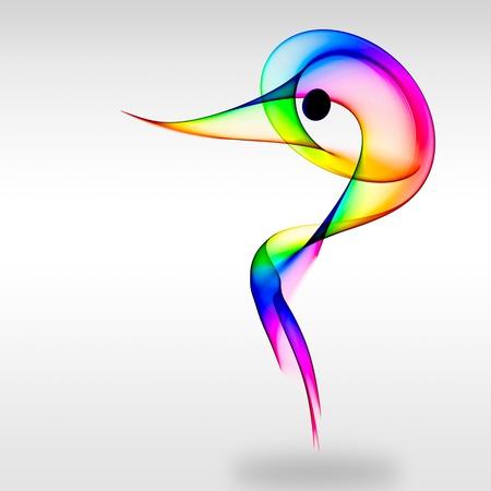 bird logo: Colored herons head