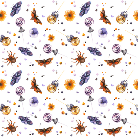 Watercolor Halloween pattern of insects and sweets