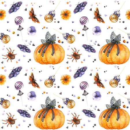Watercolor Halloween pattern of pumpkin, insects and sweets