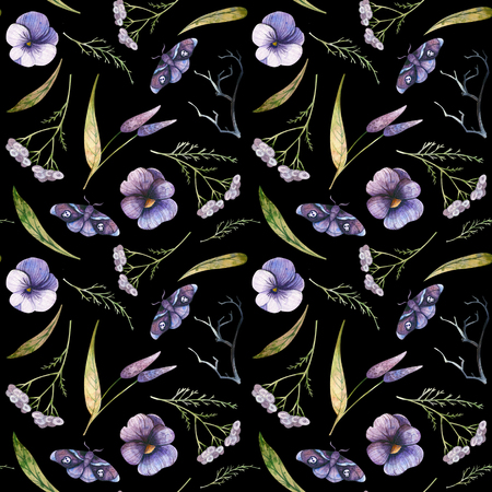 Watercolor autumn pattern of flowers on a black background