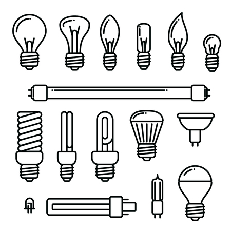 Vector light bulbs icons on white background. Set of different kind of light bulbs. Ilustrace