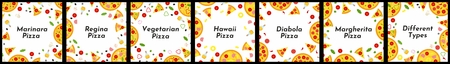 Set of square frames. Different types of pizza. Background for invitations, advertisements, postcards Çizim