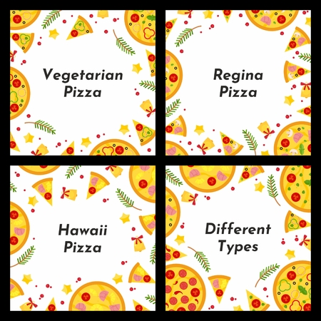 Set of square frame. Different types of Christmas pizza. Background for invitations, advertisements, postcards