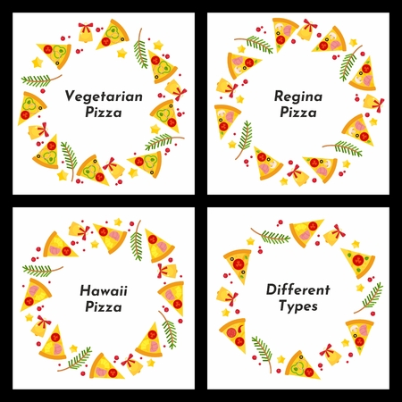 Set of circle framess. Different types of Christmas pizza. Background for invitations, advertisements, postcards