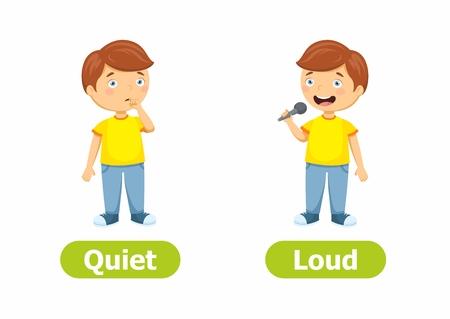 Antónimos y opuestos vectoriales. Ilustración de personajes de dibujos animados sobre fondo blanco. Tarjeta para niños Quiet and Loud.