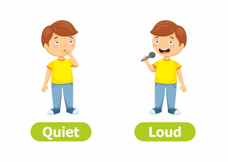 Vektorantonyme und Gegensätze. Zeichentrickfilm-Figuren-Abbildung auf weißem Hintergrund. Karte für Kinder Leise und laut.