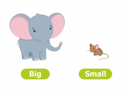 ベクトルの反意と反対。白い背景に漫画のキャラクターのイラスト。子供のためのカード大小。 ベクターイラストレーション