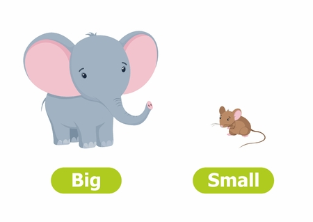 Vector antonyms and opposites. Cartoon characters illustration on white background. Card for children Big and Small.