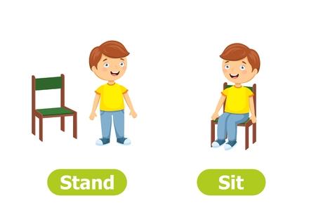 Antynimy wektorowe i przeciwieństwa. Postaci z kreskówek ilustracja na białym tle. Do nauki języka obcego. Stań i usiądź.
