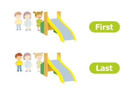 Antónimos y opuestos vectoriales. Ilustración de personajes de dibujos animados sobre fondo blanco. Para el aprendizaje de una lengua extranjera. Primero y último.