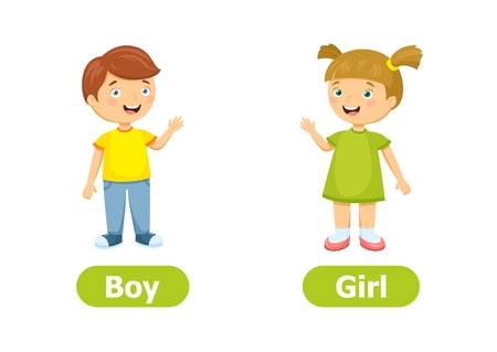 Vector antonyms and opposites. Cartoon characters illustration on white background. For a foreign language learning. Boy and Girl.