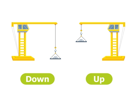 Vector antonyms and opposites. Illustrations on white background. Card for teaching aid. Down and Up.