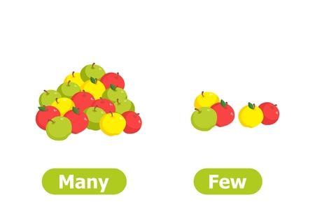 Vector antoniemen en tegenstellingen. Veel en weinig. Illustraties op witte achtergrond. Kaart voor leerhulp.