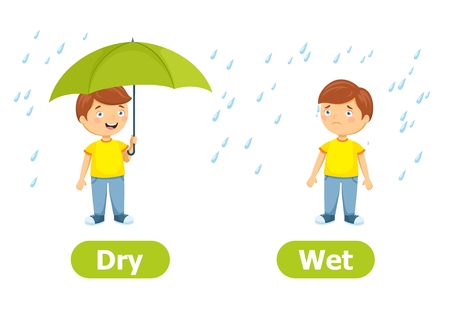 Vector antonyms and opposites.Dry and Wet. Cartoon characters illustration on white background. Card for teaching aid.