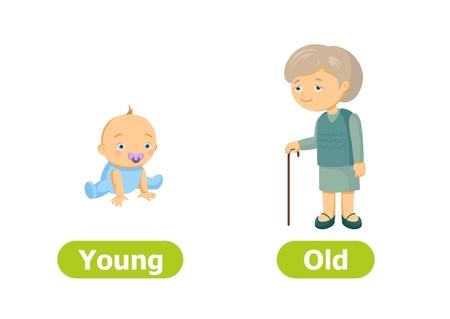 Contrari di vettore e contrari. Illustrazione di personaggi dei cartoni animati su sfondo bianco. Scheda per sussidio didattico. Giovani e vecchi.