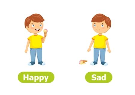 Antónimos y opuestos vectoriales. Feliz y triste. Ilustración de personajes de dibujos animados sobre fondo blanco. Tarjeta de ayuda docente.