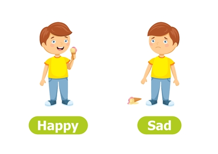 Vector antonyms and opposites. Happy and Sad. Cartoon characters illustration on white background. Card for teaching aid.