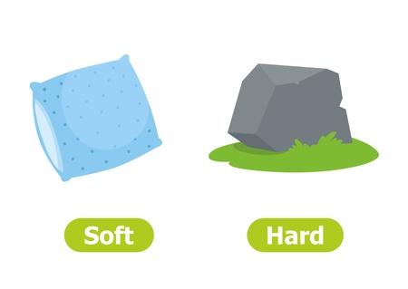 Vektor-Antonyme und Gegensätze. Illustrationen auf weißem Hintergrund. Karte für Lehrmittel. Weich und hart. Vektorgrafik