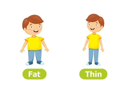 Vector antonyms and opposites. Cartoon characters illustration on white background. Card for teaching aid. Fat and Thin.