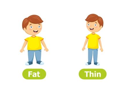 Vektor-Antonyme und Gegensätze. Zeichentrickfilm-Figuren-Abbildung auf weißem Hintergrund. Karte für Lehrmittel. Fett und dünn.