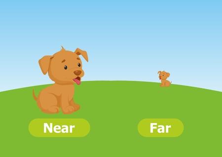 Vektor-Antonyme und Gegensätze. Nah und weit. Zeichentrickfilm-Figuren-Abbildung auf weißem Hintergrund. Karte für Lehrmittel.