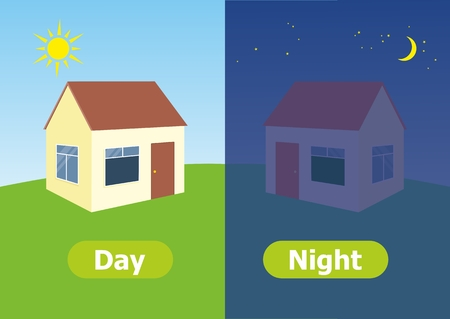 Vector antonyms and opposites. Day and Night. Illustrations on white background. Card for teaching aid. Vettoriali