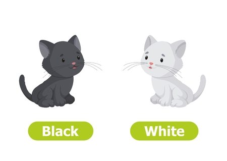 Vector antonyms and opposites. Black and White. Cartoon characters illustration on white background. Card for teaching aid.