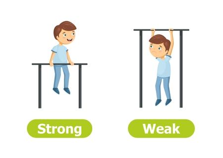 Vector antoniemen en tegenstellingen. Sterk en zwak. Cartoon tekens illustratie op witte achtergrond. Kaart voor leerhulp.