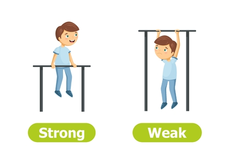 Vector antonyms and opposites. Strong and Weak. Cartoon characters illustration on white background. Card for teaching aid. Vettoriali
