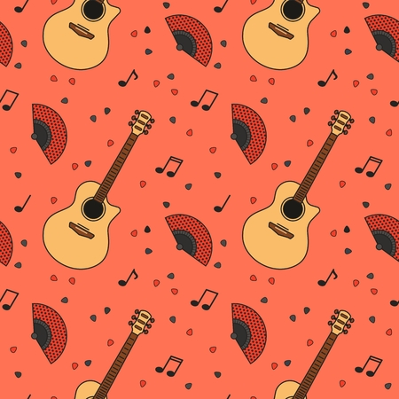 Music seamless pattern. Vector guitars, symbols and objects. For textiles, fabrics, souvenirs, packaging and greeting cards. Vetores