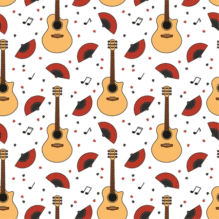 Music seamless pattern. Vector guitars, symbols and objects. For textiles, fabrics, souvenirs, packaging and greeting cards. Illustration