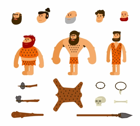 Vector set with prehistoric people. For for teaching aid, animation, explayner, infographics. Isolated on white background Illustration