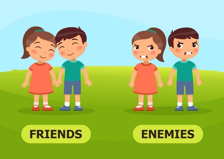 Vector antonyms and opposites. FRIENDS and ENEMIES. Card for teaching aid Illustration