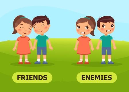 Vektor-Antonyme und Gegensätze. FREUNDE und FEINDE. Karte für Lehrmittel