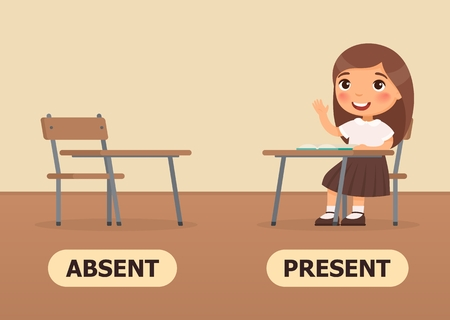 Vector antonyms and opposites. ABSENT and PRESENT. Card for teaching aid