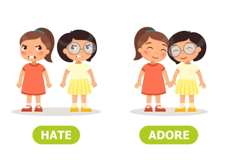 Vector antonyms and opposites. ADORE and HATE. Card for teaching aid Illustration