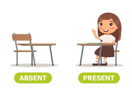 Vector antoniemen en tegenstellingen. AFWEZIG en AANWEZIG. Kaart voor leerhulp