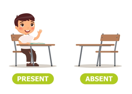 Vector antonyms and opposites. PRESENT and ABSENT. Card for teaching aid