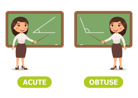 Vector antonyms and opposites. ACUTE and OBTUSE. Card for teaching aid
