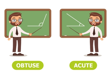 Vector antonyms and opposites. OBTUSE and ACUTE. Card for teaching aid