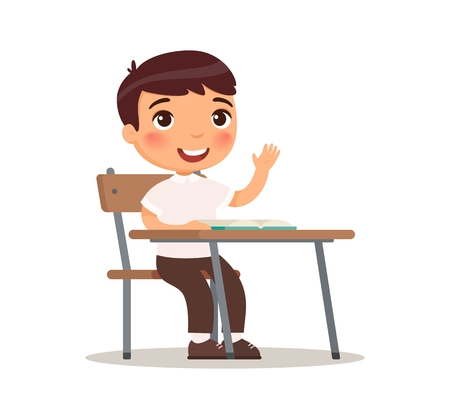 Schoolboy raises her hand for an answer. Vector illustration in cartoon style. Isolated on white background Illustration