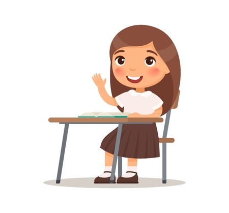 Schoolgirl raises her hand for an answer. Vector illustration in cartoon style. Isolated on white background