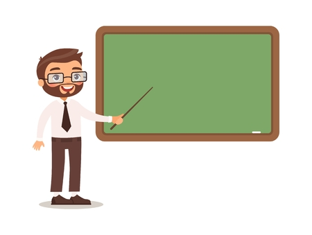 Blackboard at school, college or university. Cartoon character design. Isolated on white background Illustration