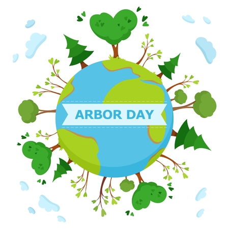 National Arbor Day concept. With an inscription Ilustração