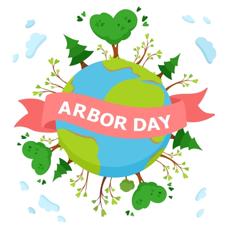 National Arbor Day concept. Environmental poster, banner, emblem. Green tree vector illustration on white background Ilustração