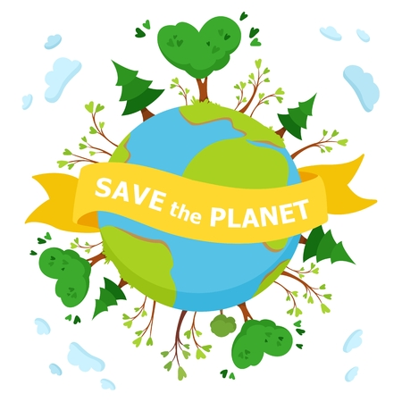 Save the planet. Green trees on planet Earth. Vector concept illustration on white background