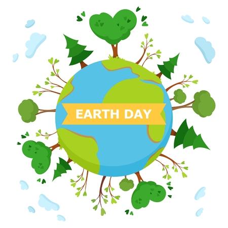 Earth Day concept Illustration. Green trees on planet Earth. Vector cartoon illustration on white background